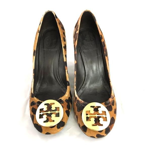 f0eb93ffc Tory Burch pony hair leopard print wedge heels. M 5c32769945c8b36b6ee3a823